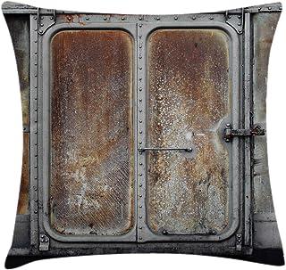 Funda de cojín de cojín Industrial, Puerta de contenedor de ferrocarril Vintage, Transporte de Locomotora Antigua, diseño de energía de Hierro, 45 x 45 cm, Gris marrón
