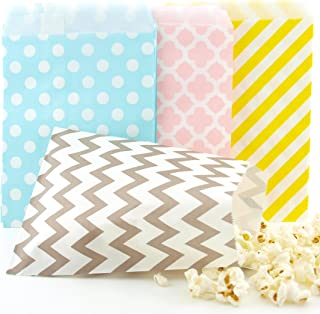 Easter Candy Bags (100 Pack) - Pastel Yellow, Pink, Blue & Silver Easter Egg Hunt Party Favor Bags, Easter Paper Bags for Chocolate or Candy & Easter Party Favors / Party Decorations
