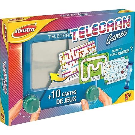 Joustra Ardoise Magique TELECRAN GAMES avec 10 Cartes de Jeu pour Enfants dès 5 ans-Format de Voyage 14X14 CM-Coloris Bleu, J41402, multicolore