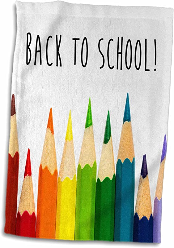 3D Rose Back To School Color Pencils Hand Towel 15 X 22 Multicolor