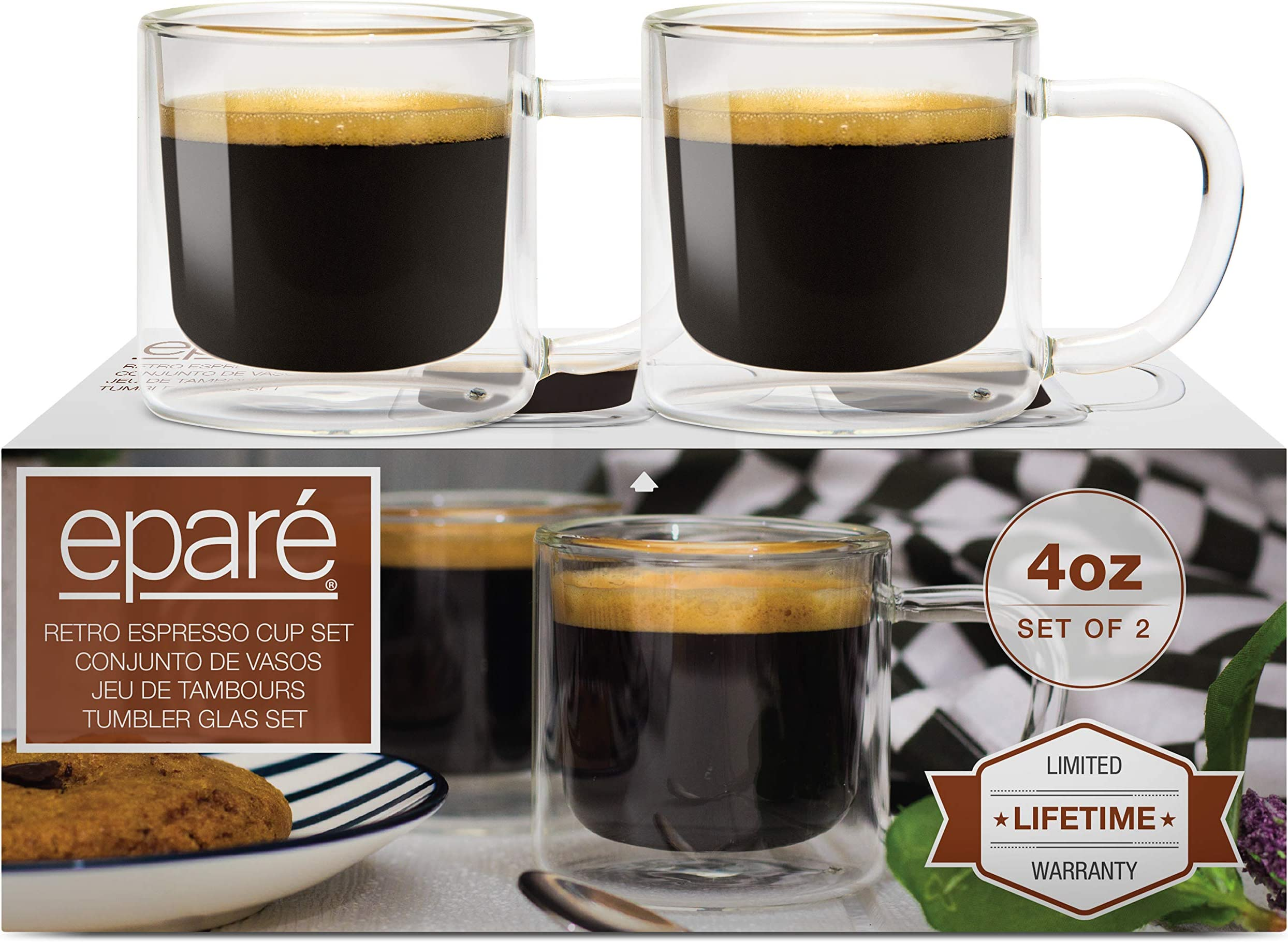 4 oz Glass Espresso Cups - Set of 2 - Insulated Clear Mug with Handle - Double Walled Italian Demitasse Cup - Cafe Cappuccino Shot Glasses by Eparé
