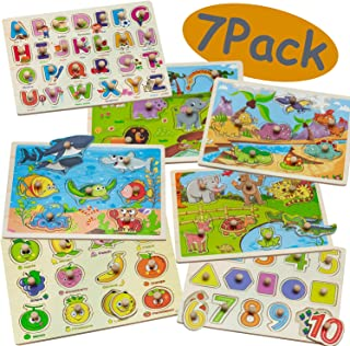 7 Pack Wooden Puzzles for Toddlers 1 2 3 4 Years Old - 7 Colorful Wooden Peg Puzzles Set - Kids Alphabet Puzzle, ABC Shape Numbers Fruits Sea Life Dinosaur Animals - Educational Toys for Girls & Boys