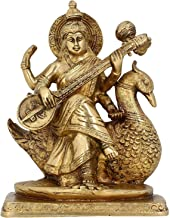 Religious Indian Art Hinduism Gifts Statue Goddess Saraswati Brass 7.5 Inches 2.46 Kg