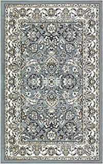 Blue Nile Mills Jasmine Indoor Area Rug, Super Soft, Durable, Elegant, Floral Damask Pattern, Cottage, Country, Cabin, Oriental, Vintage, Contemporary Style, Jute Backing, Cream, 5' x 8'