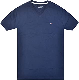 Tommy Hilfiger Men V-Neck Classic Fit Logo T-Shirt (XL, Navy)