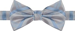 Gravata borboleta azul clara com listras azuis
