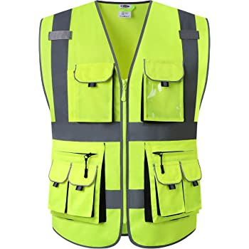 JKSafety 10 Pockets Class 2 High Visibility Zipper Front Safety Vest Yellow with High Reflective Strips Meets ANSI/ISEA Standards (Yellow, Large)