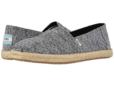 TOMS Alpargata on Rope (Black Tiny Chambray Dots on Rope) Women
