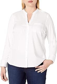 Women's Plus-Size Non-Iron Knit Combo Shirt