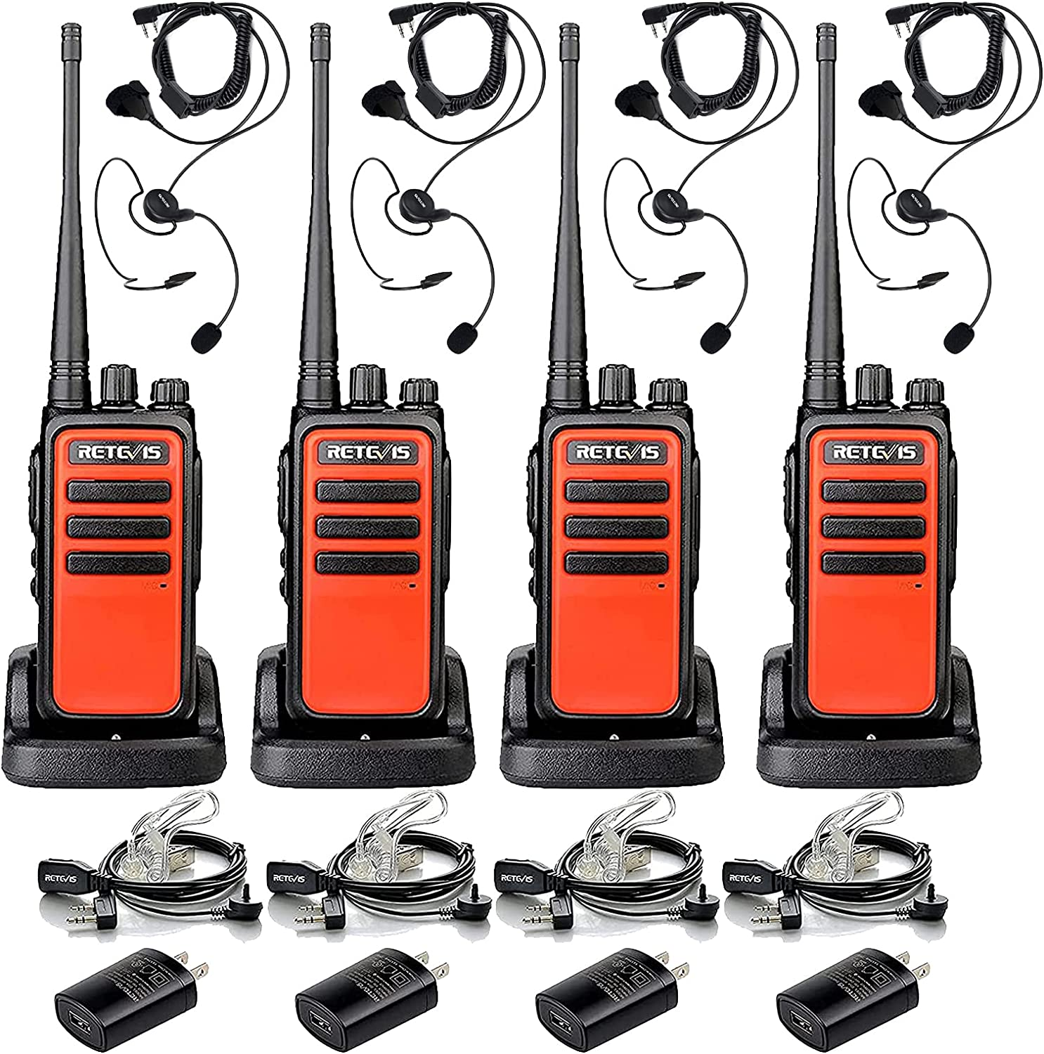 Fort Worth Mall Retevis RT66 Walkie Talkies 4 Long Challenge the lowest price of Japan ☆ Earpieces with Pack