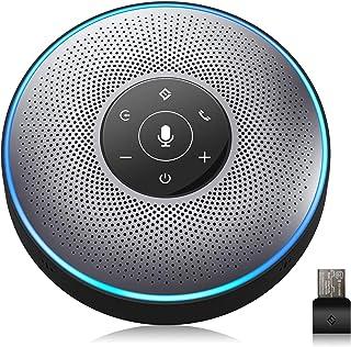 スピーカーフォン eMeet マイクスピーカー web会議用 最大8人まで対応 双方向会話 ワイヤレススピーカーフォン Bluetooth/USB/AUX対応 360˚全方向集音 エコー・ノイズのキャンセリング 高音質 位置検出機能 LED指示...