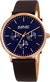August Steiner Men's Quartz Watch, Analog Display And Leather Strap As8256Rgbr