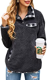 Womens Fuzzy Fleece Pullover Plaid Print Sherpa Sweatshirt Button Collar Tops With Pockets