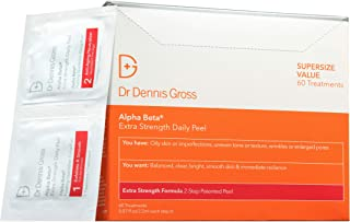 Dr. Dennis Gross Alpha Beta Extra Strength Daily Peel: for Oily Skin, Uneven Tone or Texture, Wrinkles or Enlarged Pores, 60 Packettes