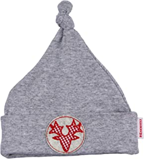 Eisenherz Weiche, trachtige Mütze in grau mit appliziertem Geweih und verknotetem Zipfel