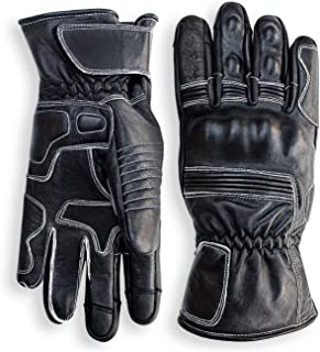 Pre-Weathered Premium Leather Motorcycle Gloves (Black) Cool, Comfortable Riding Protection, Cafe Racer, Full Gauntlet with Mobile Touch Screen (Medium)