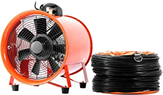 OrangeA Utility Blower 12 Inch 0.7HP 2295 CFM 3300 RPM Portable Ventilator High Velocity Utility Blower Fan Multifunctional Ventilator Fume Extractor with 5M Duct Hose(12 Inch Fan with Hose)