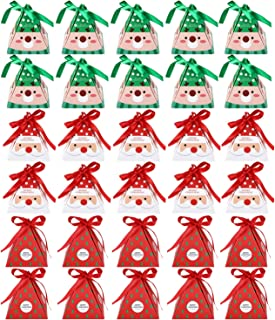30 Pieces Christmas Candy Treat Boxes with Ribbons Xmas Cookie Boxes Gift Boxes with Christmas Elements Patterns for Christmas Party Favors