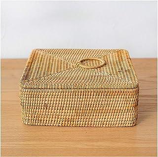 Panier carré en rotin tressé à la main, boîte de rangement à quatre compartiments avec couvercle, panier de rangement en r...
