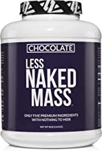 Chocolate Less Naked Mass - All Natural Weight Gainer Protein Powder - 8lb Bulk, GMO Free, Gluten Free & Soy Free. No Artificial Ingredients - 1,360 Calories - 11 Servings