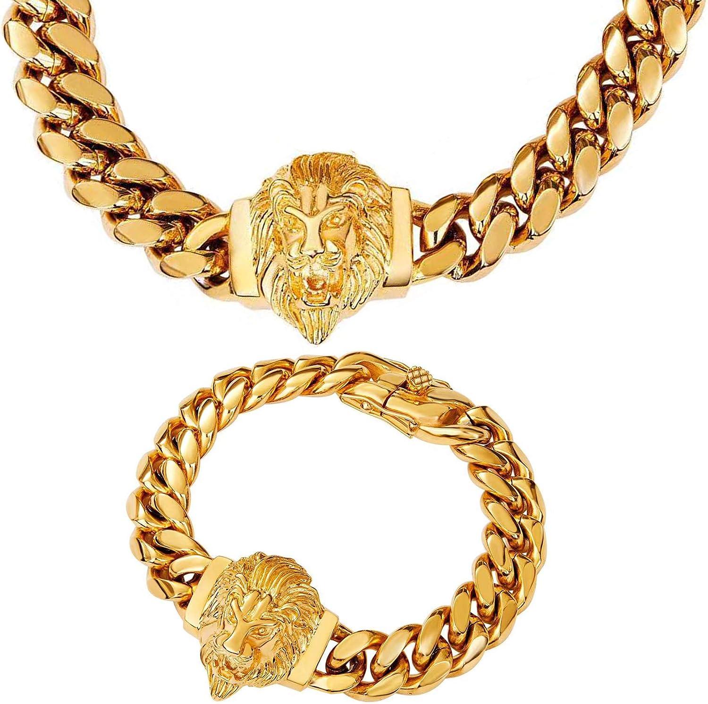 discount Department store W Lifetime Cuban Link Chain for Choker Hop Hip Men Neckla Lion
