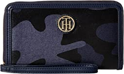 TH Serif Signature Carryall Coated Camo Wristlet