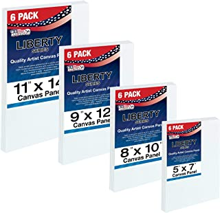 US Art Supply Multi-Pack 6-Ea of 5 x 7, 8 x 10, 9 x 12, 11 x 14 inch. Professional Quality Medium Artist Canvas Panel Assortment Pack (24 Total Panels)