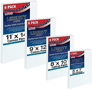 U.S. Art Supply Multi-Pack 6-Ea of 5 x 7, 8 x 10, 9 x 12, 11 x 14 inch. Professional Quality Medium Artist Canvas Panel Assortment Pack (24 Total Panels)