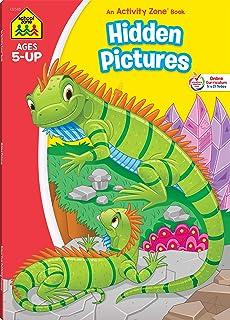 School Zone - Hidden Pictures Workbook - 64 Pages, Ages 5 and Up, Kindergarten, 1st Grade, Alphabet, Vocabulary, Beginning...