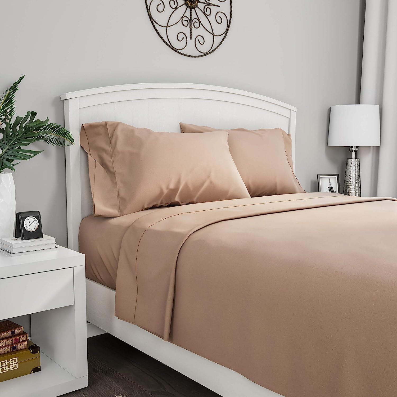 Lavish Home, Taupe Brushed Fiber Set-4 Piece Brown Bed Linens