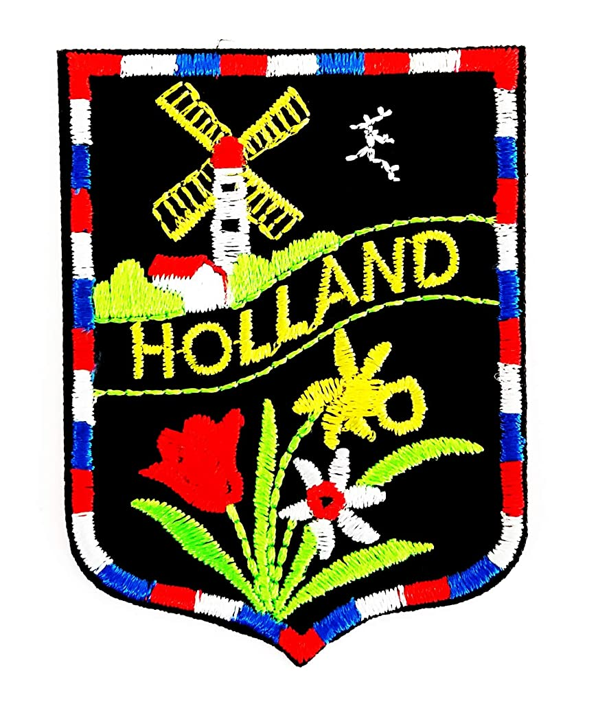 Holland Flower Cartoon Flag The Netherlands as Holland 2X2.5 in MEGADEE Patch Cartoon Kids Symbol DIY Iron on Patch Iron-On Designer Patch Used for Gifts Crafts Jeans Clothing Fabric (Holland 001)