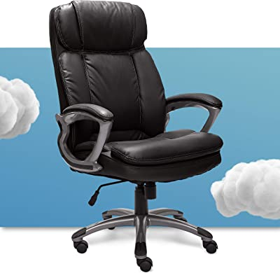 Serta 43675 Big & Tall Executive Office Chair High Back All Day Comfort Ergonomic Lumbar Support, Bonded Leather, Black