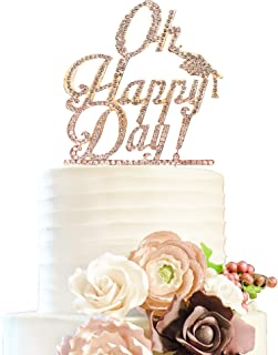 Oh Happy Day Gold Rhinestone Cake Topper Celebrate Graduation Party Sparkly Crystal Decoration.