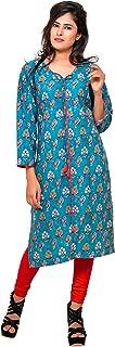 Women's blue peacock cotton printed kurta