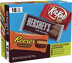 Hershey's Milk Chocolate & KIT KAT & REESE'S Cups, Halloween Candy, Gift Box of Assorted Full Size Bars 18 pieces, 27.3 oz