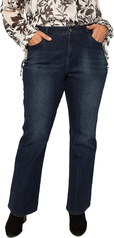 Standards & Practice Plus Size Women's Dark Wash Slim Flare Jeans