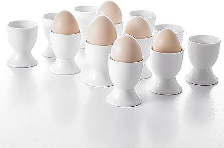 Preisvergleich für MALACASA, Serie Regular, 24 TLG. 5 * 5 * 6,3cm Cremeweiß Eierbecher Porzellan Eierständer