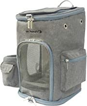 Mr. Peanut's Backpack Pet Carrier, Soft Sided Tote for Smaller Cats & Dogs, Check Sizing Before Purchase, Premium Zippers, Locking Clasps & Fleece Padding (Platinum Gray)