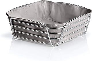 Blomus - Corbeille à pain en acier chromé et sac en tissu de coton, 26 x 26 x 9 cm