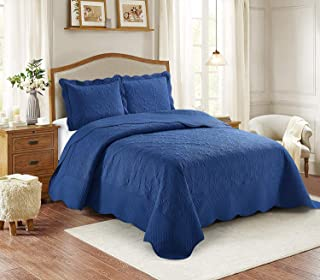 Better Home Style 3 Piece Luxury Ultrasonic Embossed Solid Quilt Coverlet Bedspread Oversized Bed Cover Set # Veronica (King/Cal-King, Navy/Dark Blue)