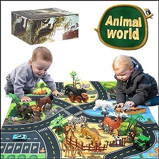 SuSenGo Safari Animal Figures Play Mat - Zoo Park Theme...