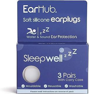 EarHub Sleepwell Soft Premium Silicone Earplugs 3 pairs. Reusable & Custom Fit Silicone Ear plugs. Best used for Sleep. Al...