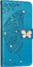 NSStar Beschermhoes voor Samsung Galaxy A40, met glitter, strass, glitter, leer, retro design, vlinder, magneetsluiting, b...