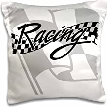 3dRose pc_99325_1 Racing Black and White Checkered Flag-Pillow Case, 16 by 16