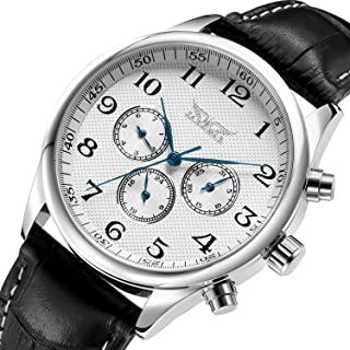 GuTe Old Fashion Mens Auto Mechanical Wristwatch White Dial Blue Hands Day Date 24hrs