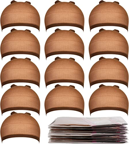 Teenitor 20 Pack Brown Stocking Cap Stretchy Nylon Wig Caps, Skin Tone Stocking Cap Wig Caps Application for Women Me...