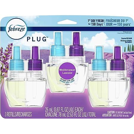 Febreze Plug in Air Freshener and Odor Eliminator, Scented Oil Refill, Mediterranean Lavender, 3 Count