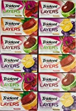 Trident Layers Sugar Free Gum Variety 3 Packs of Each Flavor Grape/Lemonade Strawberry/Citrus Cherry/Lime and Watermelon/Tropical (Total 12 Packs)