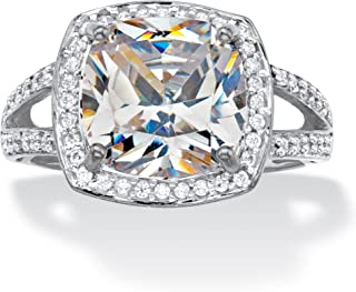 10K White Gold Cushion Cut Cubic Zirconia Split Shank Halo Engagement Ring