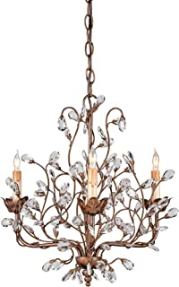 Currey and Company 9883 3 Light Crystal Bud Chandelier, Cupertino Finish